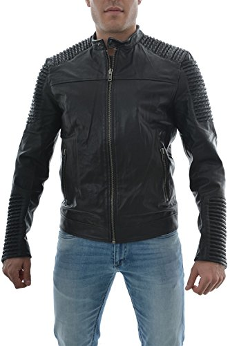 JACK & JONES Herren Lederjacke JjorLeather 5 Jacket, Gr. Medium, Schwarz