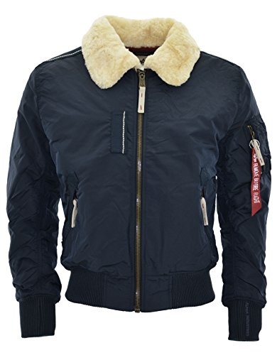 Alpha Industries Bomber Jacke Injector III mit Pelzkragen rep. blue. Neue Kollektion! (XL)