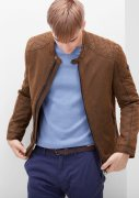 s.Oliver RED LABEL Bikerjacke in Veloursleder-Optik