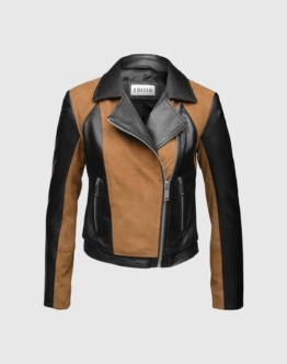EDITED the label Bikerjacke aus Leder ´Indiana´ Damen schwarz/braun