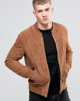 Jack & Jones - Bomberjacke aus Wildleder - Bronze