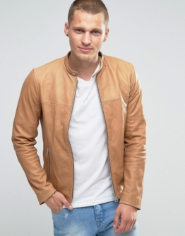 Replay - Bikerjacke aus Leder in Braun - Bronze